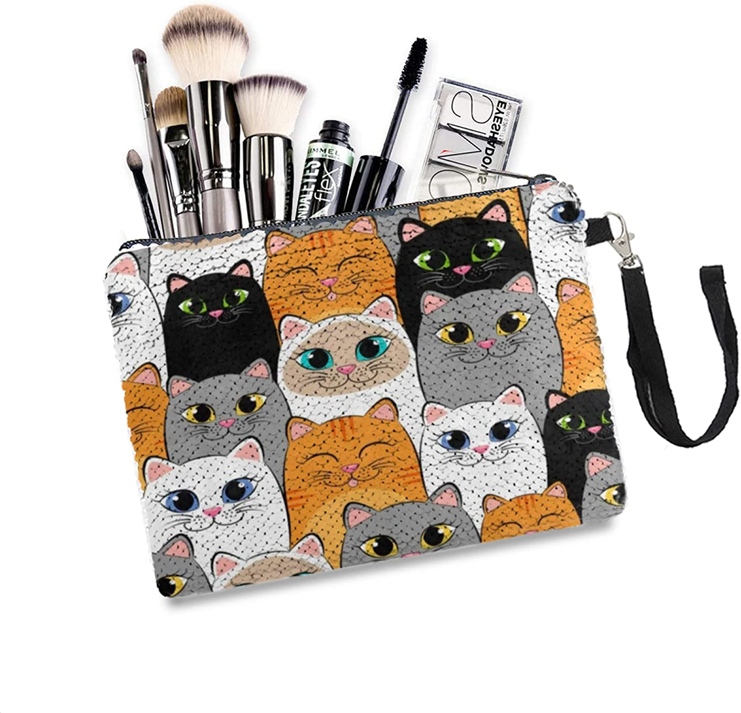 Makeup Bag Cartoon Cat Kitten Challenge the lowest price Animal Cosmet Face New products world's highest quality popular Glitter Mermaid