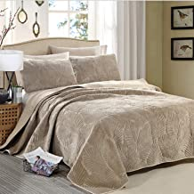 Fluffy Flannel Blanket, Double-Sided Bedspread, Warm Bed Throw with 2 Pillowcase, Jacquard Coverlet, Easy to Care 270×234cm