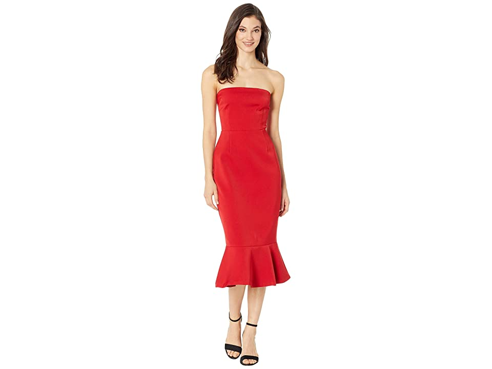 BB Dakota Light My Fire Strapless Dress (Bright Red) Women