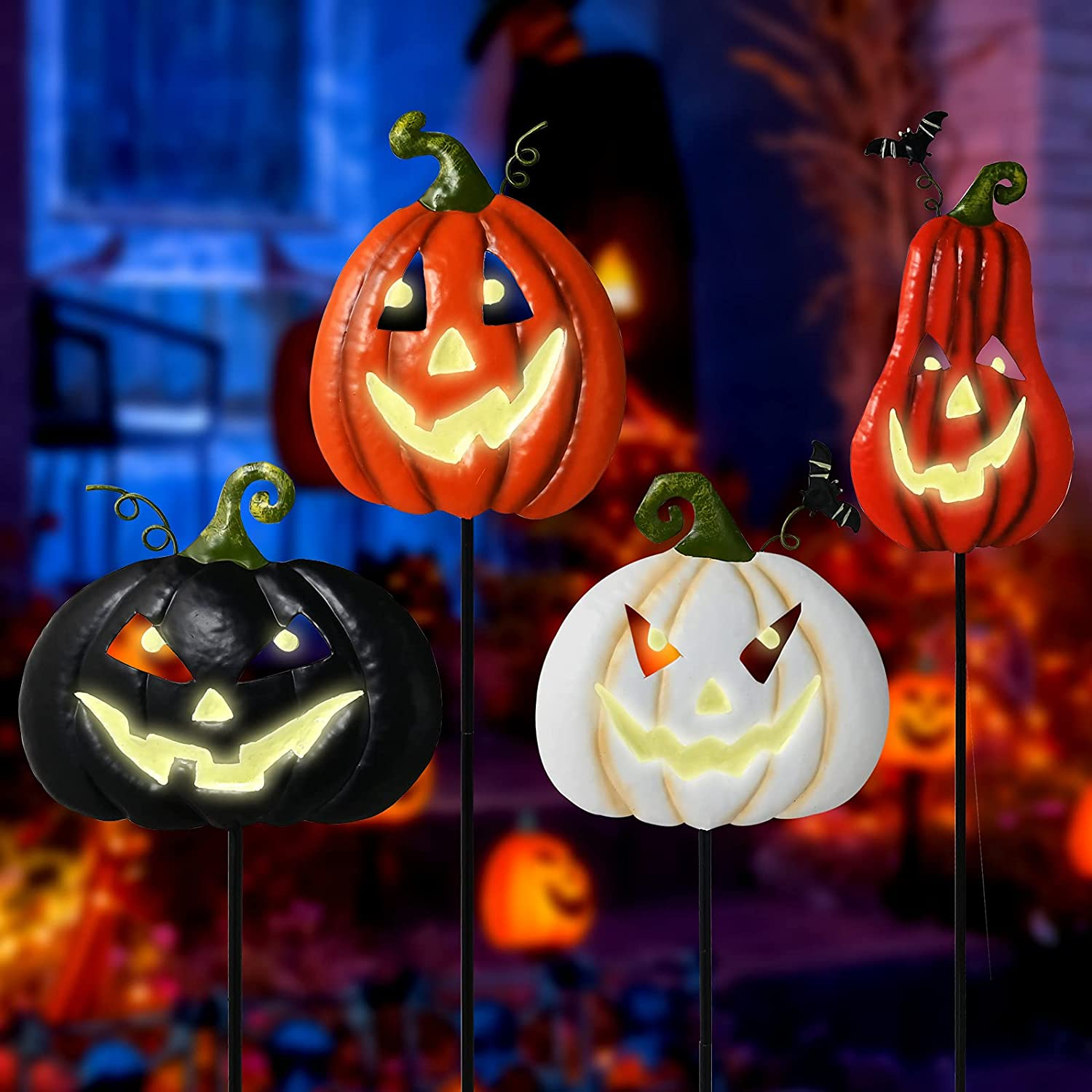 ALLADINBOX Halloween Metal Stakes Pumpkin Jack o Lantern Spooky Faces Smile with Luminous Effect, Garden Yard Signs, Outdoor Party Décor, Set of 4