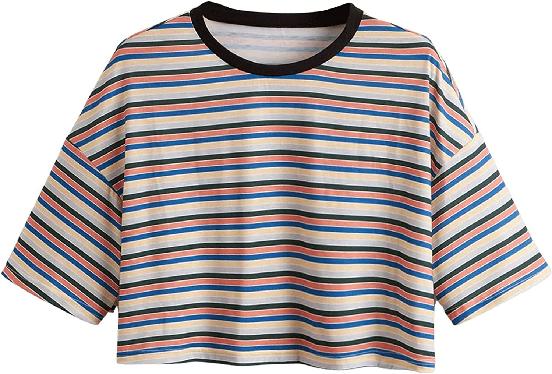 Milumia Women's Plus Size Striped Short Sleeve Crop Tee Round Neck T Shirt