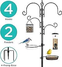 Best Choice Products 91in 4-Hook Bird Feeding Station, Steel Multi-Feeder Stand w/ 2 Feeders, Tray, Bird Bath - Black