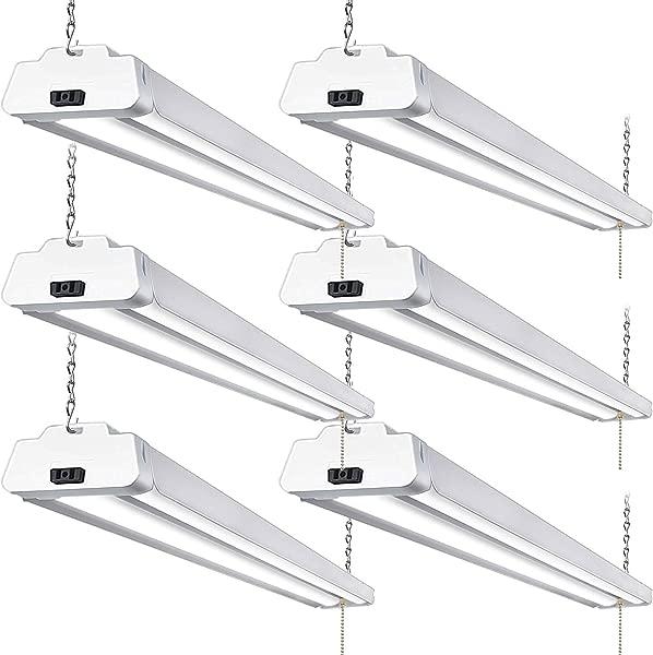 Hykolity 5000K LED Shop Light Linkable 4FT Daylight 42W LED Ceiling Lights For Garages Workshops Basements Hanging Or FlushMount With Plug And Pull Chain 3700lm ETL 6 Pack