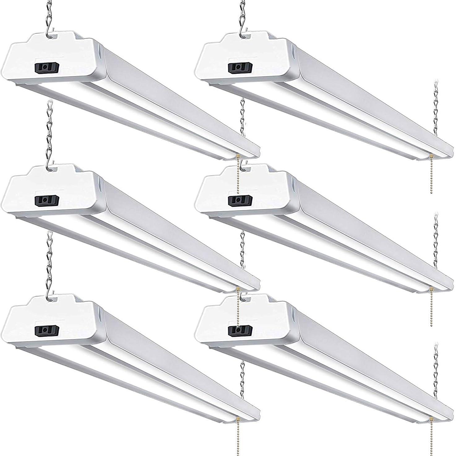 Hykolity 5000K LED Shop Light Linkable, 4FT Daylight 42W LED Ceiling Lights for Garages, Workshops, Basements, Hanging or FlushMount, with Plug and Pull Chain, 3700lm, ETL- 6 Pack