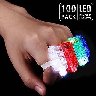 TORCHSTAR LED Finger Lights Party Favors, Bulk Toys for Easter, Halloween, Christmas, Carnival, Concert, Wedding, Labor Day, Veteran's Day, Pack of 100