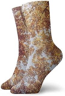 tyui7, Leaf Trees debajo del otoño calcetines de compresión antideslizantes Cosy Athletic 30cm Crew Calcetines para hombres, mujeres, niños