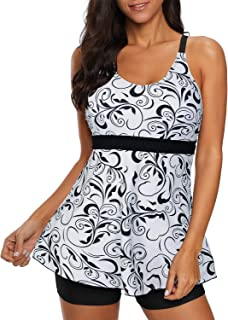 Zando   Womens Two Piece Swimsuits Tummy Control Bathing Suit Printed Tankini Top with Boyshort Swimming Suit Slimming Swimdress Modest Swimwear for Women White Black Print S (US 4-6)