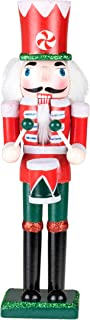 Drummer Nutcracker | Traditional Christmas Decor | Drum & Drum Sticks | Red & White Peppermint Drumming Outfit Uniform | Perfect for Any Collection | Perfect for Shelves & Tables | 100% Wood | 9