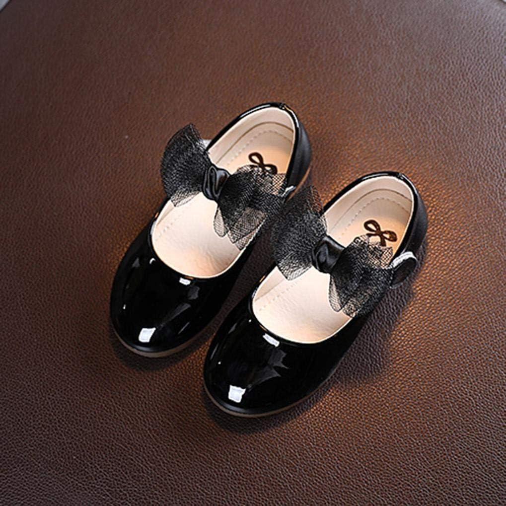 Rumity Prinzessin Schuhe M/ädchen Schmetterling Knoten Leder Kleinkind Kinder Sandalen Flache Schuhe Festliche M/ädchen Ballerina mit Bl/üte Matt Wei/ß