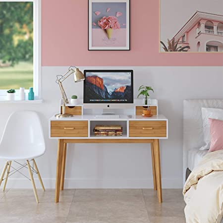 HOMECHO Writing Computer Desk Modern Workstation Table Wood Compact Study Desk with 4 Drawer Storage and Shelves & Bamboo Legs for Home Office, 41.7'', White