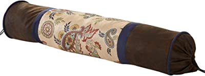 """HiEnd Accents Tammy Western Paisley Bolster Throw Pillow, 8"""" x 36"""", Tan, Navy & Chocolate"""