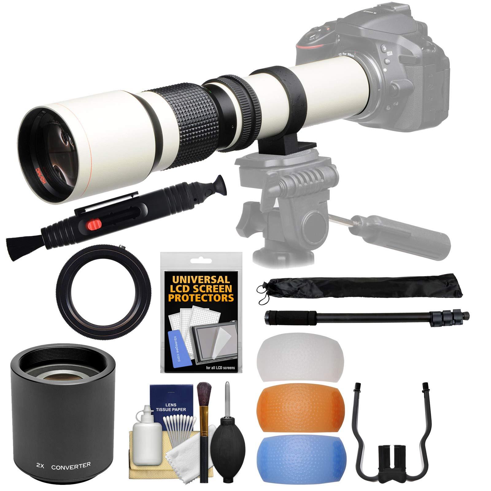 Vivitar 500mm f//8.0 Telephoto Lens with 2X Teleconverter D3300 + Tripod D5500 D7200 Camera 3 Filters Kit for Nikon D3200 =1000mm D7100 D5300
