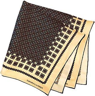 ポケットチーフ シルクチーフ メンズ 紳士 英国製 Silk ターンブル&アッサー Turnbull&Asser 大判 ツイル Beige/Blue Size45x45cm C014