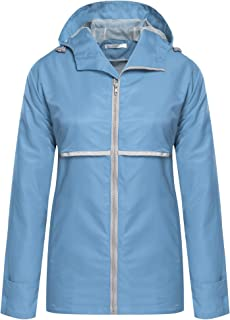 ELESOL Women's Rain Coat Lightweight Rain Jacket Hood Fashion Outdoor Coat S-3XL