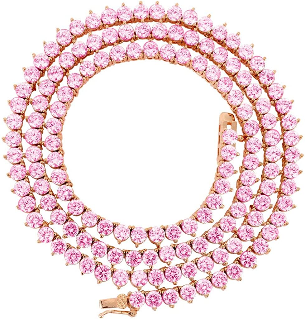 Bling NY Unisex バースデー 記念日 ギフト 贈物 お勧め 通販 Rose Gold Finish Row Tennis 正規品 Cho 1 Necklace
