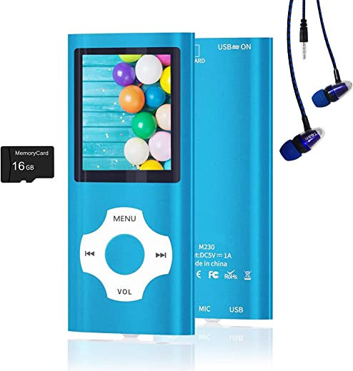 MP3 Player, Hotechs Music Player with 16GB Memory SD Card with Photo/Video Play/FM Radio/Voice Recorder/E-Book Reader (Blue)