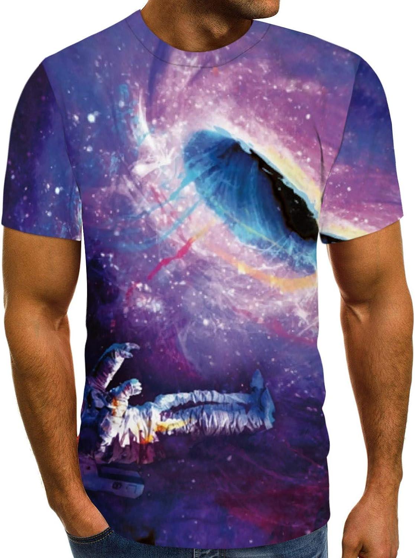 Summer Short Sleeve Tops for Men Couple Funny T-Shirts Black Hole Shirt Crew Neck Unique Hawaiian Shirts