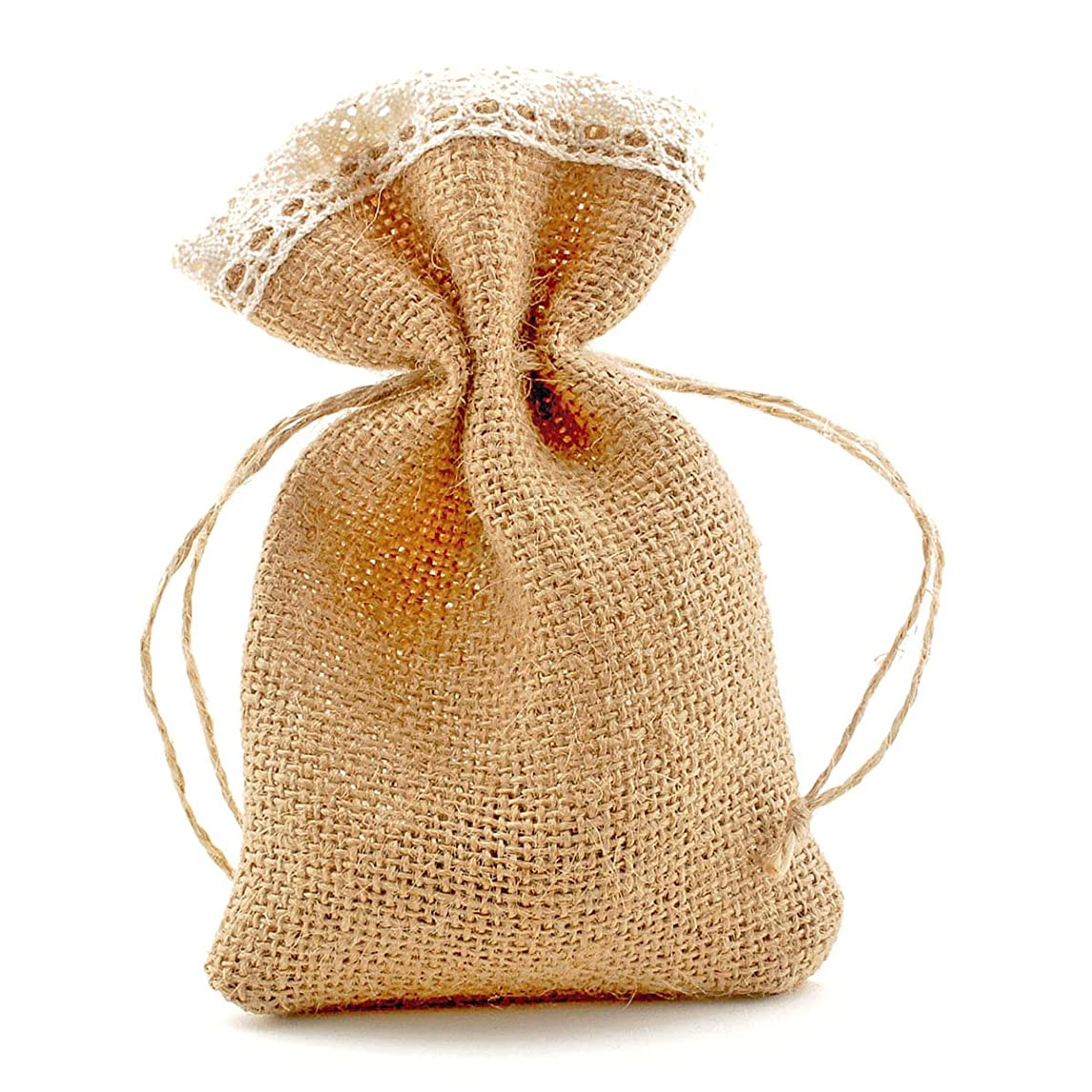 Summer-Ray 20pcs Burlap Favor Bags with Crochet Lace and Drawstrings (6