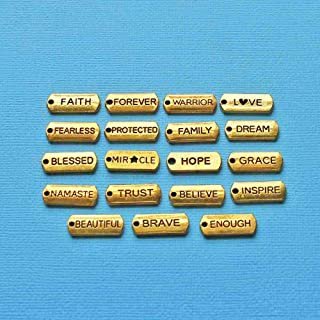 Word Charm Collection Antique Gold Tone 19 Different Tag Charms DIY Crafting by Wholesale Charms