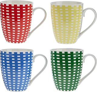 Symphony Gingham Mug Set Of 4 300 Ml Multicolor