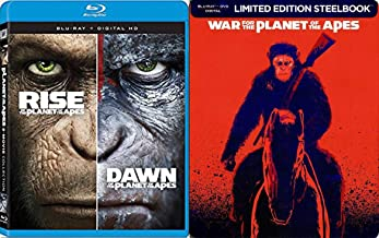 Deadly Apes Steelbook War for the Planet Exclusive Feature Sci-Fi + Dawn & Rise of the Planet of the Apes Blu Ray Movie 3 Pack Limited Edition Trilogy Set