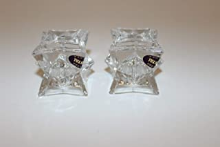 FINA Michael C Fifth Avenue 24% Lead Crystal Star Set of 2 Candle Holders (Star Shape)