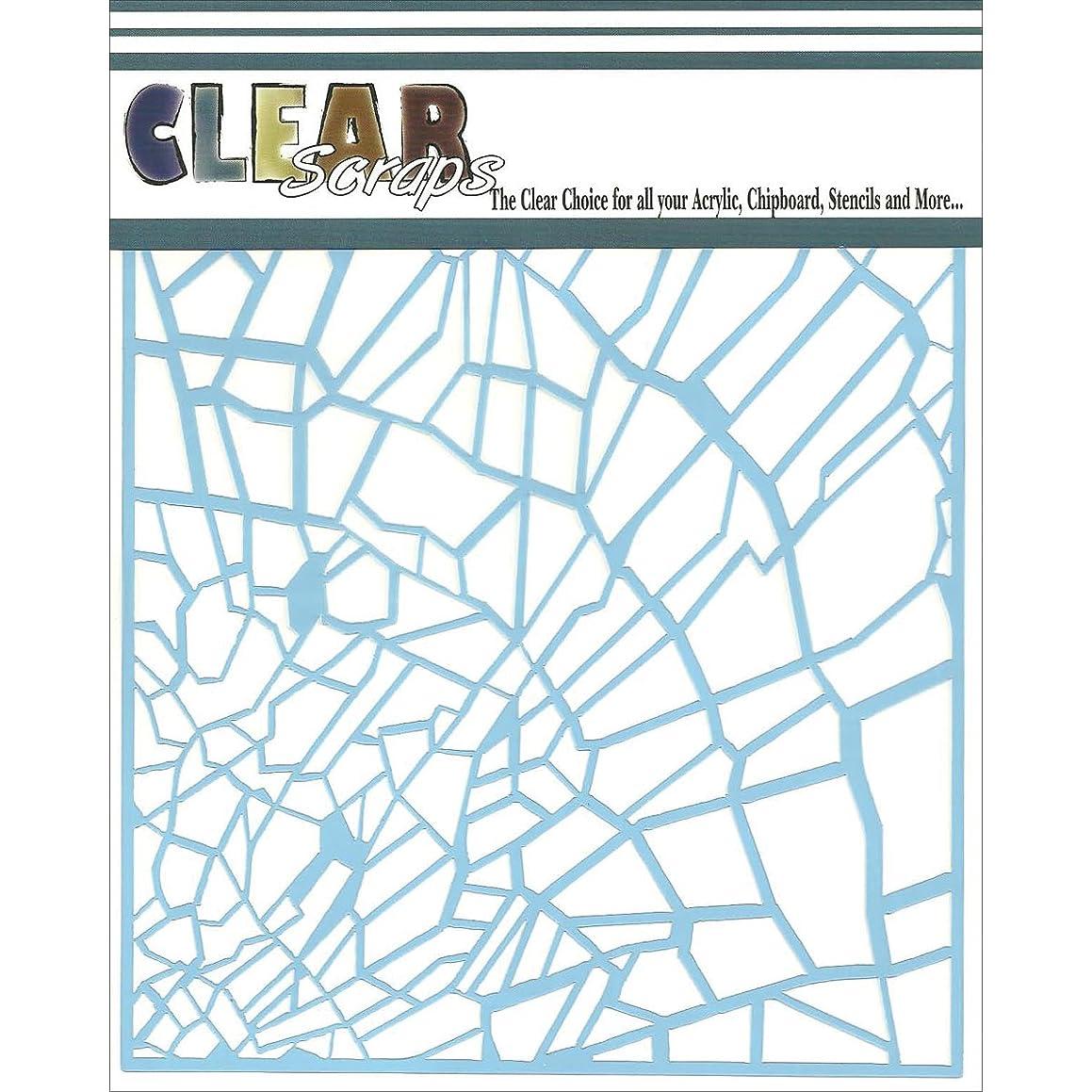 Clear Scraps CSSM6-SGLSS Translucent Plastic Film Stencil, Shattered Glass, 6-Inch x 6-Inch