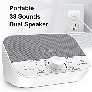 White Noise Machine - Sound Machine for Sleeping & Relaxation w/Timer - 38 Soothing Natural Sounds Noise Maker - Portable Sleep Sound Therapy for Home, Office or Travel - Built in USB Output Charger