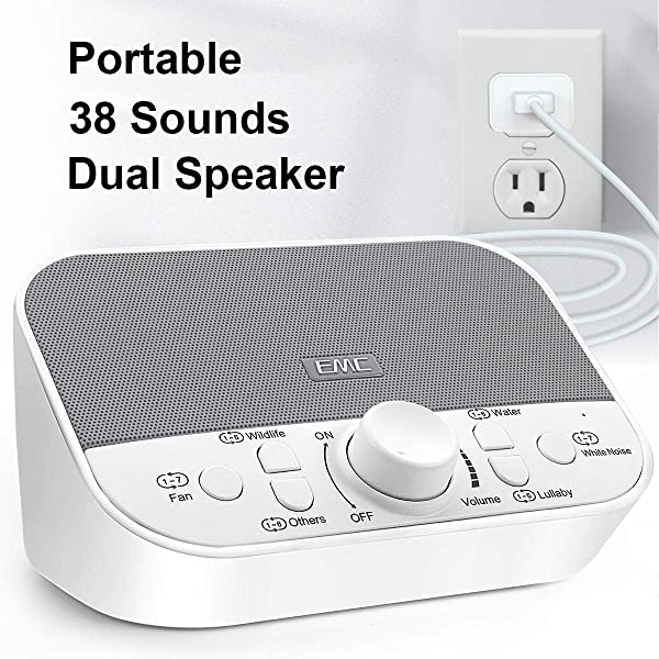White Noise Machine Sound Machine For Sleeping Relaxation W Timer 38 Soothing Natural Sounds Noise Maker Portable Sleep Sound Therapy For Home Office Or Travel Built In USB Output Charger