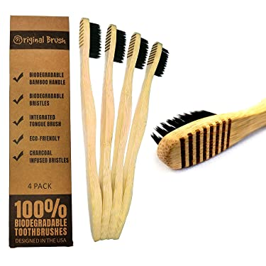 Original Brush - Biodegradable Toothbrushes With A Built In Tongue Brush & Soft Biodegradable Bristles. 4 Pack of Zero-Waste, Compostable Tooth Brushes.
