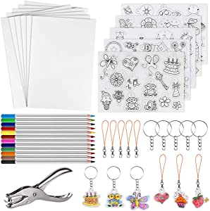 60 Pcs Heat Shrink Plastic Sheet Kit Heat Sheets Creative Pack, Including 10Pcs Blank Shrink Film Paper and 5 Pcs Shrinky Art Paper with Pattern Hole Punch Keychains Pencils for Kids