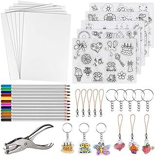 Glitz 60 Pieces Heat Shrink Plastic Sheet Kit Include 10 PCS Shrinky Art Paper with 5 Pcs Shrinky Art Paper with Pattern, ...