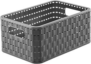Rotho Country Boîte de Rangement 6L en Rotin, Plastique (PP) sans BPA, Anthracite, A5/6L (28,0 x 18,5 x 12,6 cm)