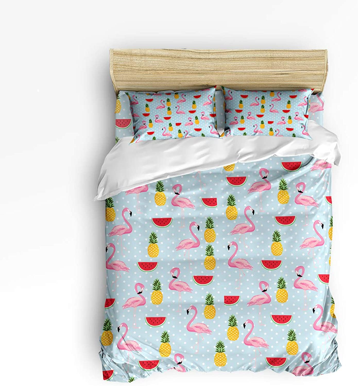 Repeat Arrangement of Flamingos Full Size 4 Piece Bedding Set, Ultra Soft Microfiber Lightweight Microfiber Duvet