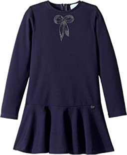 Long Sleeve Dress with Embellished Bow Detail (Little Kids/Big Kids)