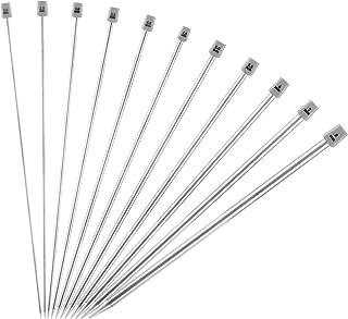 LIHAO 11 Paires (22pcs) Aguilles a Tricoter en Acier Inoxyable Unique Pointe pour Laine (2mm-8mm, Longeur 35cm)