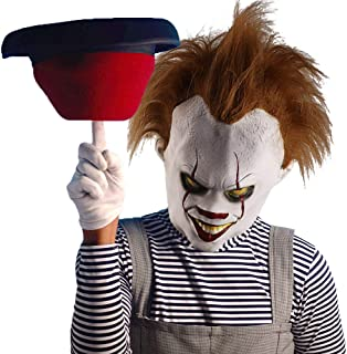 Clown Joker Mask Pennywise Mask Creepy Stephen King Latex Mask Halloween Costume Party Decoration Adult White