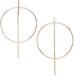 Hoop Earrings in Gold Color Modern Bar Big Hoop Earrings Geometric Design nickel free