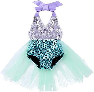 IEFIEL Disfraz Princesa Sirena para Bebé Niña Recién Nacida Vestido Tutú Lentejuelas Mameluco Purpurina Traje de Fiesta Ca...