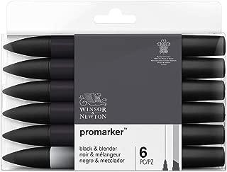 Winsor & Newton 0290116 ProMarker, Set of 6, Black + Blender