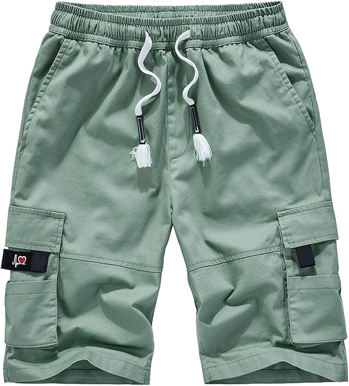 VtuAOL Mens Cargo Shorts Elastic Waist Casual Cotton Shorts with Multi Pockets