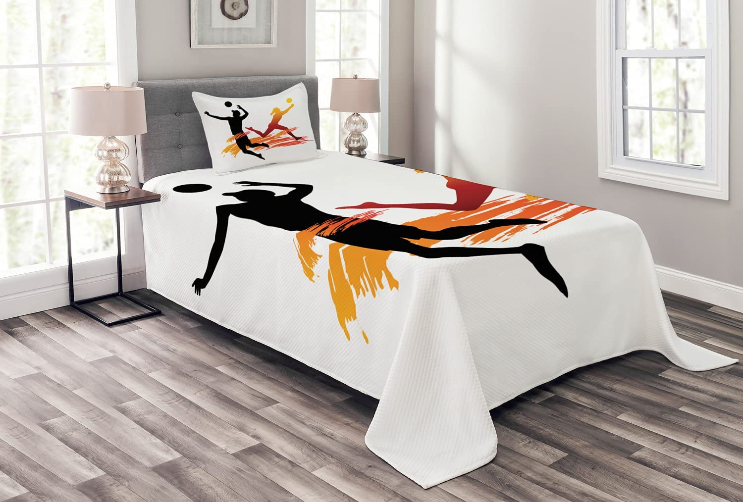 Ambesonne Industry No. 1 Volleyball Bedspread Shapes of and Female a quality assurance Male Hi