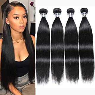 Malaysian Straight Weave Hair Human Bundles (10 10 12 12 Inch,1 B Color)100% Unprocessed Malaysian Virgin Straight Hair 4 Bundles Double Wefts Mixed Length Soft Hair for Women