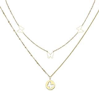 Qings Collar con Colgante de Mariposa, Collar de Doble Capa Chapado en Oro de 14 K con Colgante Madre de Concha, Regalo de...