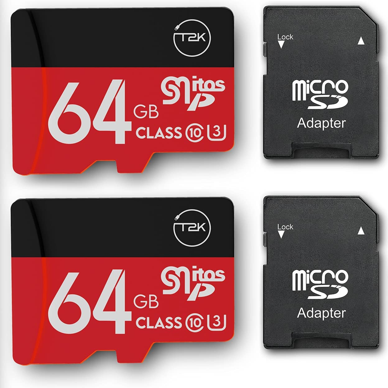 64GB Class 10 MicroSDXC Flash Memory Card with Adapter for Mobile Device Storage Phone, Tablet, Drone & Full HD Video Recording - 90MB/s UHS-I, C10, U1 (2 Pack)