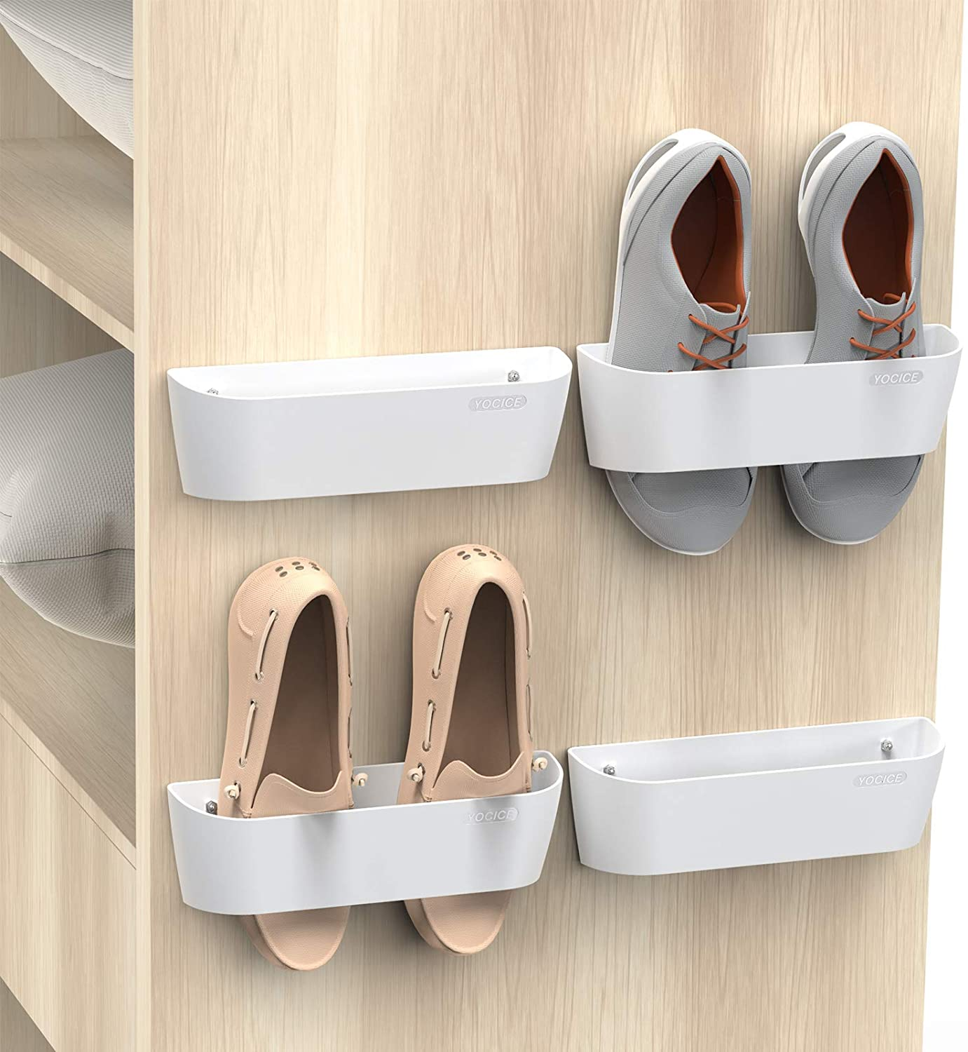 SM03-Black-4 Yocice Wall Mounted Shoes Rack with Sticky Hanging Strips Plastic Shoes Holder Storage Organizer,Door Shoe Hangers
