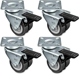 Nirox 4x Ruedas para muebles 50mm - Ruedas giratorias para cargas pesadas 4x con freno - Ruedas industriales altura total 75mm - Ruedas pivotantes hasta 400kg