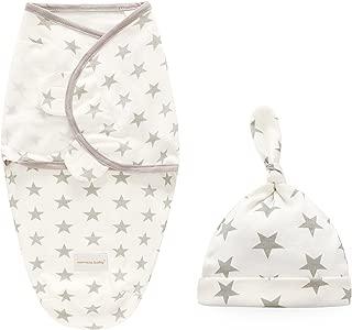 Baby Swaddle Blanket Wraps with Hat Set, 100% Cotton Soft Adjustable Infant Swaddling Towel Envelopes Sleeping Bag for Newborn Boy Girl Kids (for 0-3 Months, Grey Star)