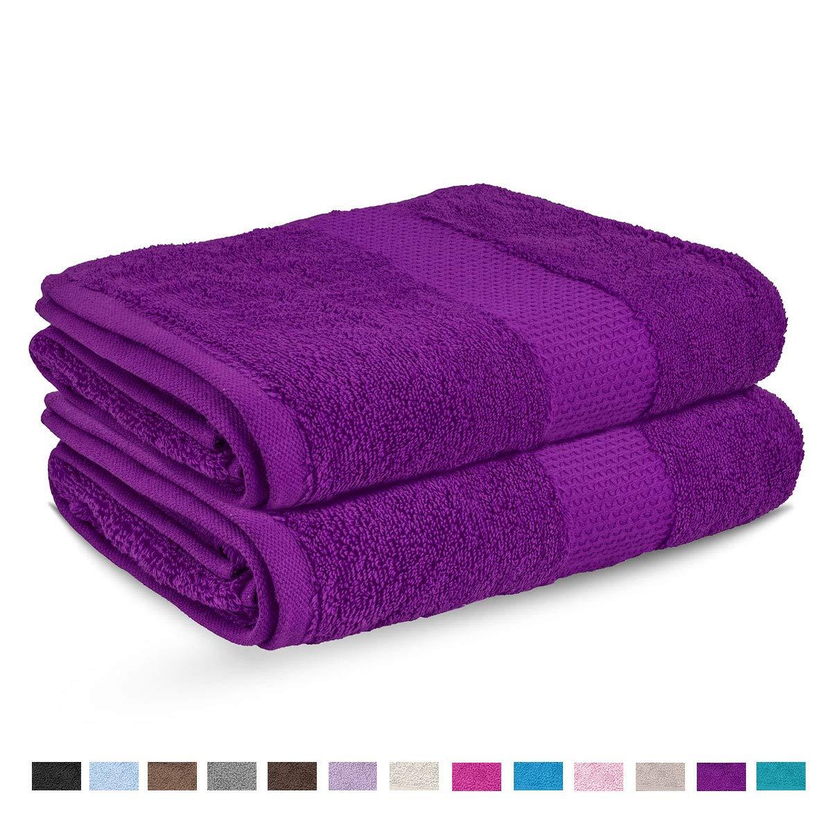 Lions Toallas de baño Miami, Toalla de Mano Gigante, 100% algodón, con Agua borbada, gsm 700, Morado, 2X Bath Towel: Amazon.es: Hogar