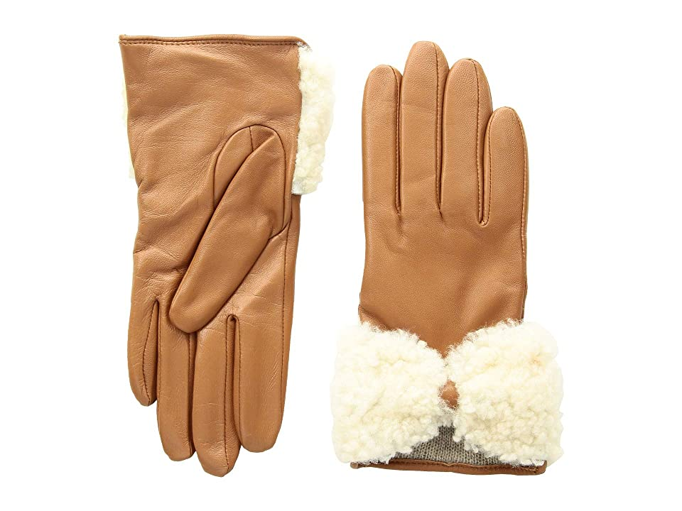 UGG Tech Leather Gloves with Sheepskin Bow (Chestnut) Extreme Cold Weather Gloves